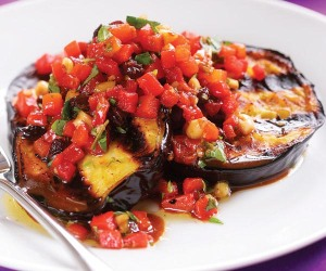 eggplant with roasted red peppers